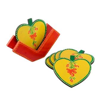 Apple Design Wooden Tea Coasters(Set of 6)