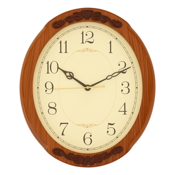 Brown oval wooden analog wall clock(33 cm x 33 cm)