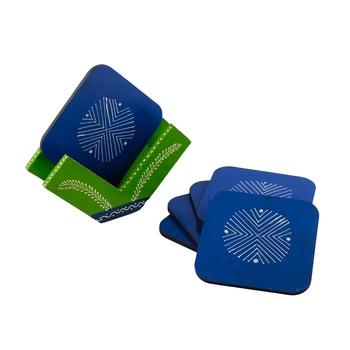 Handmade Blue Wooden Tea Coasters(Set of 6)