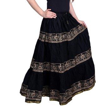Black Flared Cotton long Wmon's Skirt