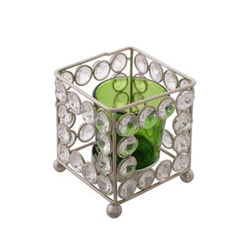 Dazzling Square Shape Crystal Tea Light Holder