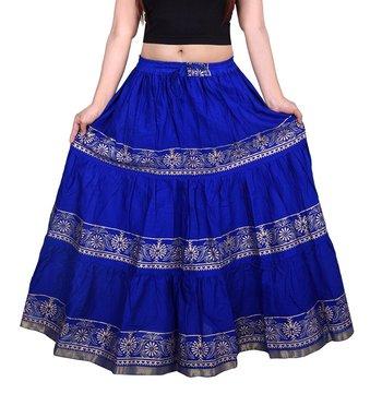 Blue Flared Cotton long Wmon's Skirt