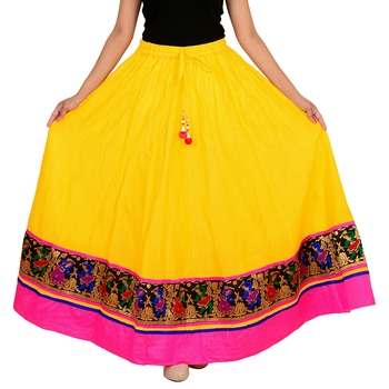 yellow Cotton Designer lace Work Long Skirt for Women