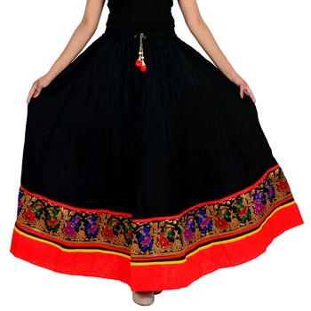 black Cotton Designer lace Work Long Skirt for Women