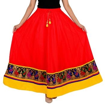 red Cotton Designer lace Work Long Skirt for Women