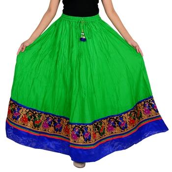 green Cotton Designer lace Work Long Skirt for Women