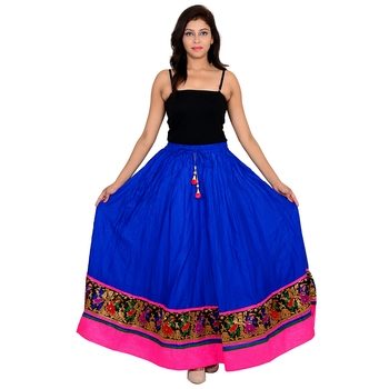 blue Cotton Designer lace Work Long Skirt for Women