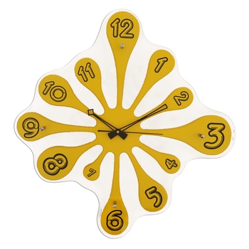 Yellow vertical wooden analog wall clock(51.5 cm x 49.5 cm)