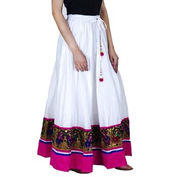 white Cotton Designer lace Work Long Skirt for Women