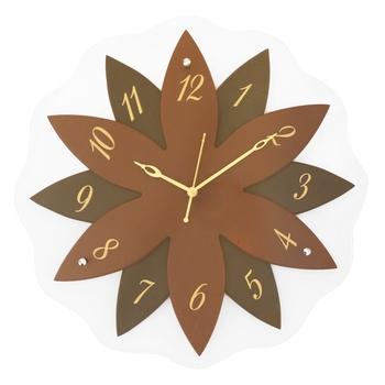 Brown,Black flower wooden analog wall clock(40.5 cm x 40.5 cm)