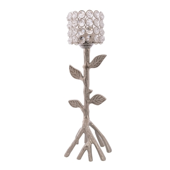 Love Moments Tree Shape Crystal Tea Light Holder (Silver)