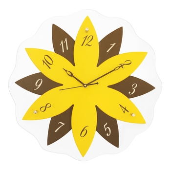 Yellow,black flower wooden analog wall clock(40.5 cm x 40.5 cm)