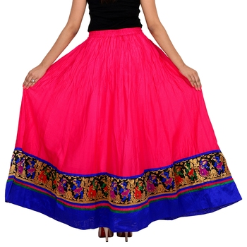 pink Cotton Designer lace Work Long Skirt for Women