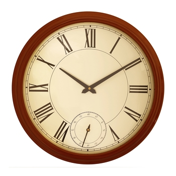 Brown round wooden analog wall clock(40.5 cm x 40.5 cm)
