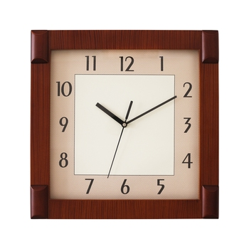 Brown square wooden analog wall clock(33 cm x 33 cm)