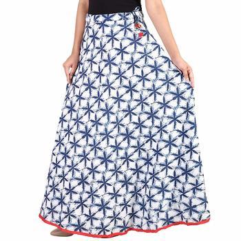 Blue Designer Cotton Indigo Print Long Skirt for Women and girls