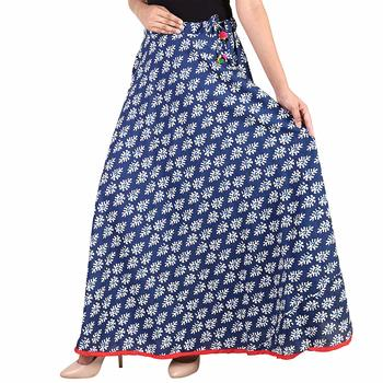 Blue Designer Cotton Indigo Print Long Skirt for Women and girls