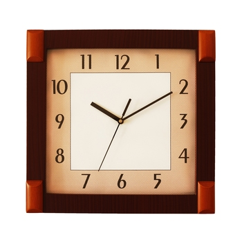 Cola Brown square wooden analog wall clock(33 cm x 33 cm)