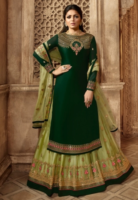 Dark-green embroidered satin salwar