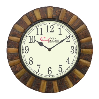 Analog Wooden Wall Clock with Wooden Blocks(Brown|12*12inch)