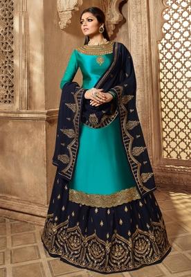 Turquoise embroidered satin salwar