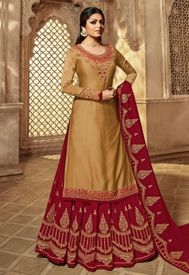 Coffee embroidered satin salwar