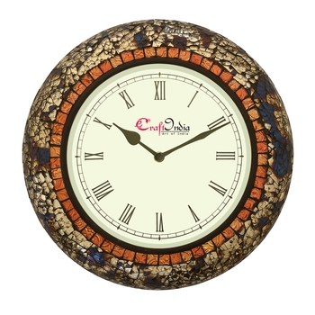 Analog Wooden Wall Clock with Mosaic Mirror Work(Blue,Silver|12*12inch)