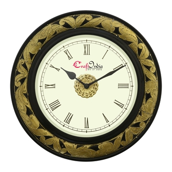 Analog Wooden Wall Clock with Metal Cutting Work(Golden|12*12inch)
