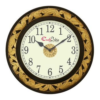 Analog Wooden Wall Clock with Metal Cutting Work(Golden 12*12inch)