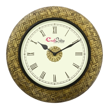 Analog Wooden Wall Clock with Metal Block Work(Golden|12*12inch)