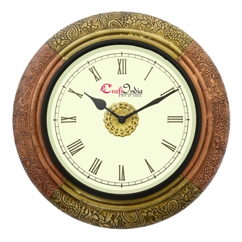 Analog Wooden Wall Clock with Metal Block Work(Golden,Copper|12*12inch)