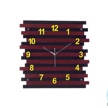 Decorative Analog Brown Square Wall Clock