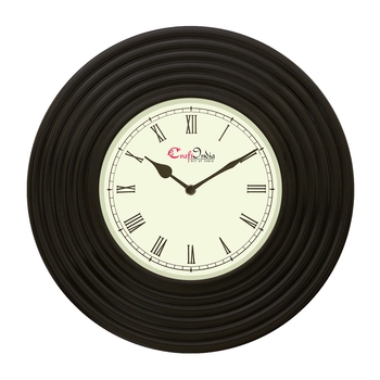 Analog Wooden Wall Clock with Round Rings(Black|14*14inch)