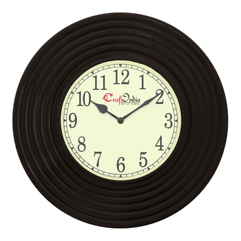 Analog Wooden Wall Clock with Round Rings(Black 14*14inch)