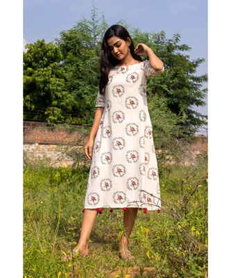 white woven cotton stitched dresses