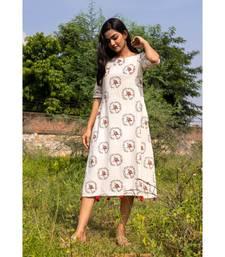 white woven cotton stitched dresses