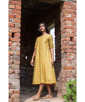 yellow woven cotton stitched dresses