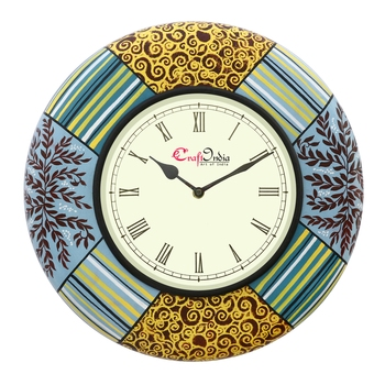 Analog Wooden Wall Clock with Painting(Multicolor|14*14inch)
