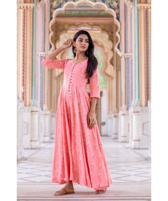 pink woven cotton stitched dresses