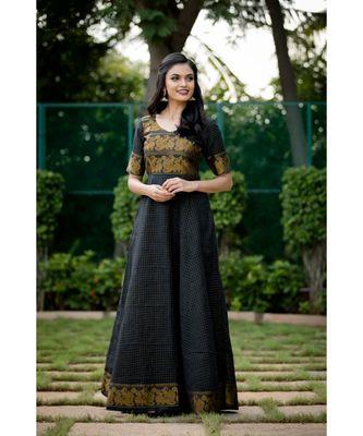 black woven cotton stitched dresses
