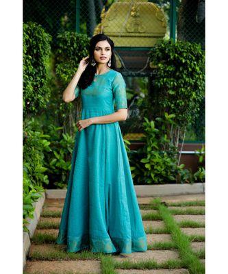 blue woven cotton stitched dresses