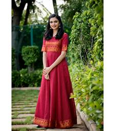 maroon woven cotton stitched dresses