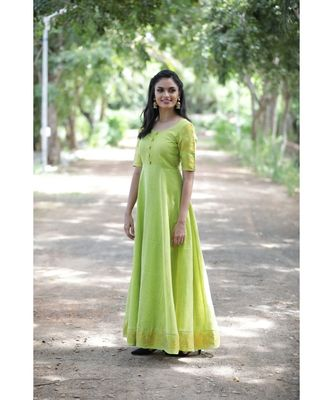 green woven cotton stitched dresses