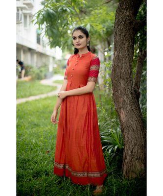 orange woven cotton stitched dresses