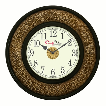 Analog Wooden Wall Clock with Metal Block Work(Golden|14*14inch)
