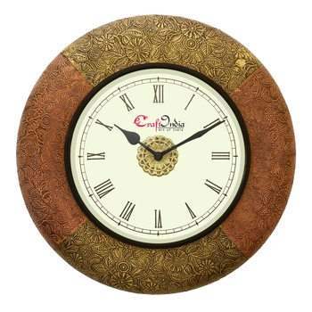 Analog Wooden Wall Clock with Metal Block Work(Golden,Copper|16*16inch)