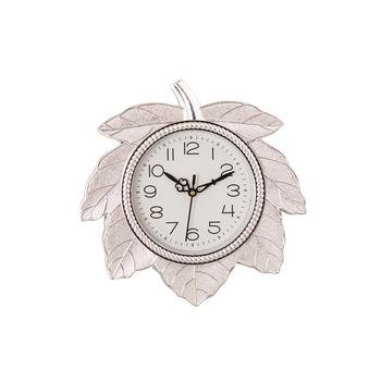 Leaf Shape Retro Silver Wall Clock