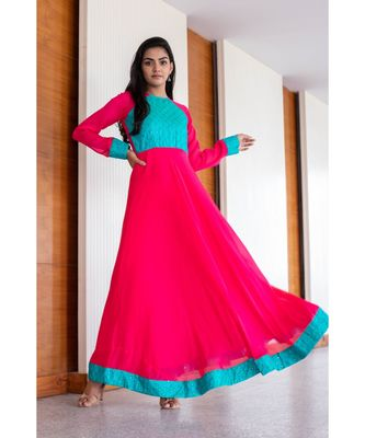 pink woven georgette stitched dresses