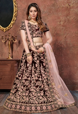 Exquisite Maroon Thread and Sequins embroidered velvet semi stitched lehenga choli for Party wear