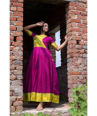 purple woven cotton stitched dresses
